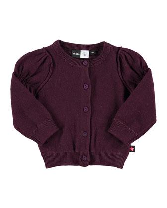 Gilberta Cotton Button-Front Cardigan, Black Grape, Size 12M-2