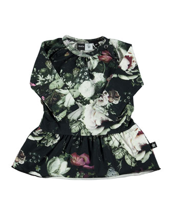 Cammon Floral Fit-and-Flare Dress, Black/Multicolor