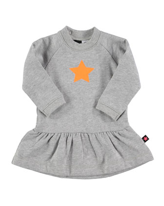 Cece Long-Sleeve Fit-and-Flare Dress, Gray, Size 12M-2