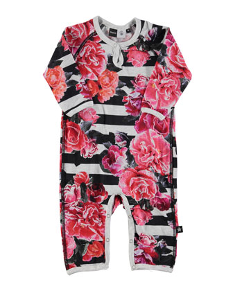 Fiona Striped Rose-Print Coverall, Black/White, Size 3-9 Months