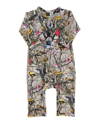 Fiona Bright Birds Coverall, Tan/Multicolor, Size 3-9 Months