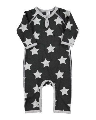 Fleming Star-Print Coverall, Black/Gray, Size 3-9 Months
