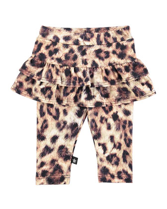 Sola Skirted Leopard-Print Leggings, Brown, Size 6M-2