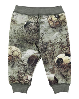 Sidney Soccer Ball Knit Pants, Gray/Multicolor, Size 6M-2