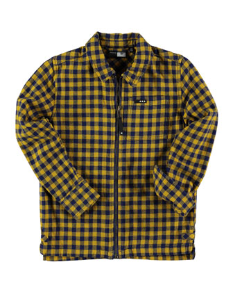 Rok Zip-Front Gingham Shirt, Banana, Size 3-14