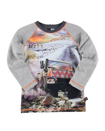 Roger Monster Truck Raglan Tee, Gray, Size 4-12