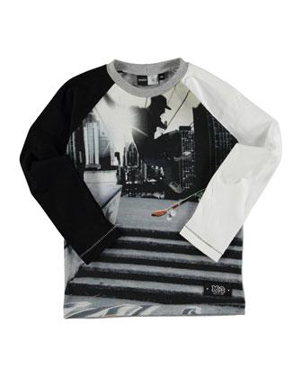 Roger City Skate Raglan Tee, Black/White, Size 4-14