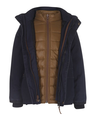 3-in-1 Zip-Front Jacket, Navy, Size 4-10