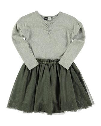 Celenia Jersey & Tulle Combo Dress, Gray Glitter, Size 3-10