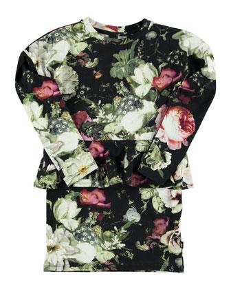 Corliss Floral-Print Peplum Dress, Black/Multicolor, Size 3-12