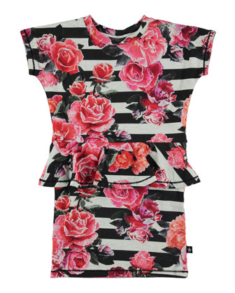 Christina Striped Rose-Print Peplum Dress, Black/White, Size 5-12