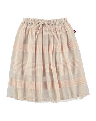 Benitta Striped Chiffon Skirt, Ballet Pink, Size 5-12