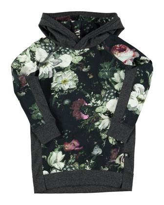Caty Hooded Floral Shift Dress, Black/Gray, Size 5-12