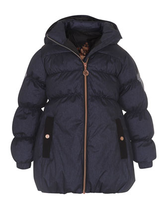Hestia Hooded Puffer Jacket, Blue, Size 4-10