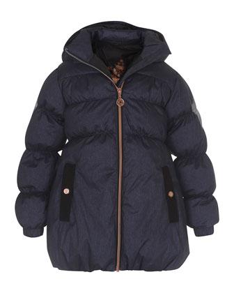 Hestia Hooded Puffer Jacket, Blue, Size 4-10