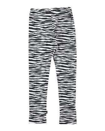 Niki Tiger-Stripe Leggings, Black/White, Size 4-12