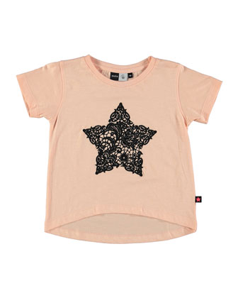 Ando Short-Sleeve Jersey Tee, Peach Puff, Size 4-12