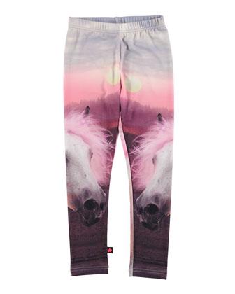 Nikia Horse-Print Leggings, Pink, Size 4-12