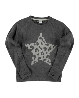 Ragni Long-Sleeve Raglan Star Tee, Dark Gray, Size 4-14