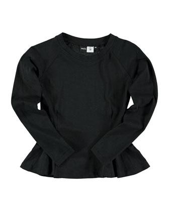 Raelicka Peplum Jersey Tee, Black, Size 4-14
