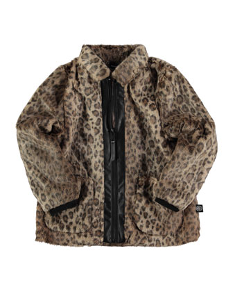 Hermanda Faux-Fur Jacket, Brown, Size 6-14