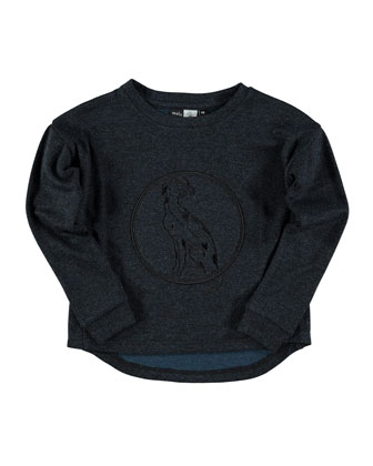 Embroidered Rya Jersey Tee, Midnight Glitter, Size 6-14