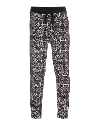 Aiesha Leopard-Print Pants, Black/White