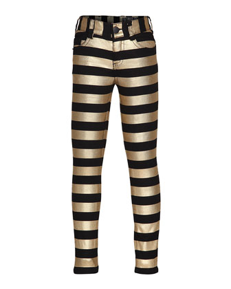 Augustine Striped Skinny Jeans, Black/Gold, Size 6-14