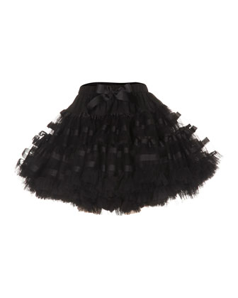 Bella Tulle Fil Coupe Skirt, Black, Size S-M