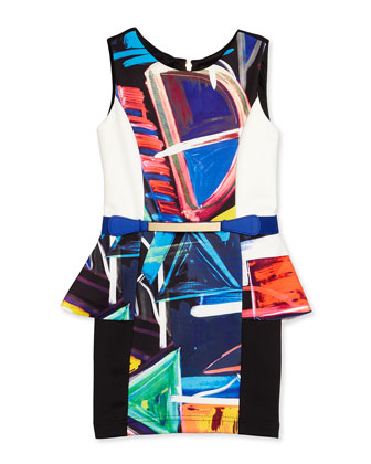 Abstract Peplum Sheath Dress, Multicolor, Size 7-14