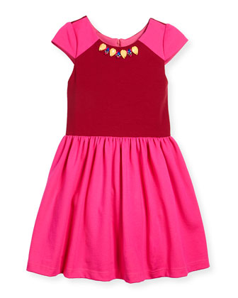 Raglan Colorblock A-Line Dress, Pink/Red