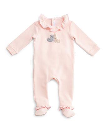 Ruffle-Trim Footie Pajamas, Pink, Size Newborn-9 Months