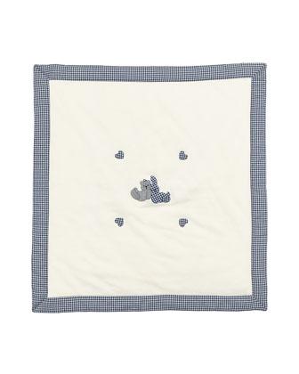 Gingham-Trim Knit Baby Blanket w/ Applique, White/Blue