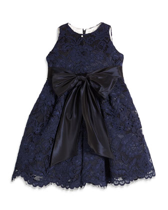 Sleeveless Lace A-Line Dress, Navy, Size 4-6