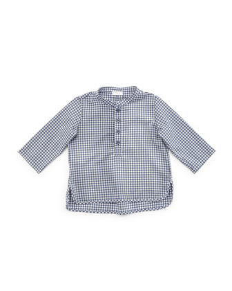 Long-Sleeve Gingham Henley Shirt, Blue, Size 2-4