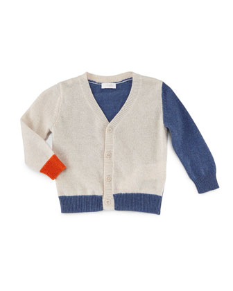 Wool-Blend Colorblock Cardigan, Tan/Blue/Orange, Size 2-4