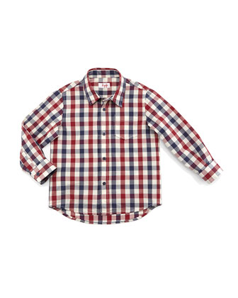 Long-Sleeve Poplin Check-Print Shirt, Red, Size 5-8