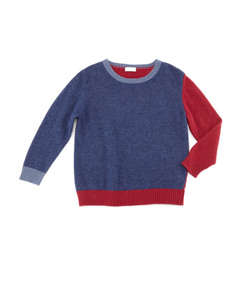 Knit Colorblock Pullover Sweater, Blue/Red, Size 5-8