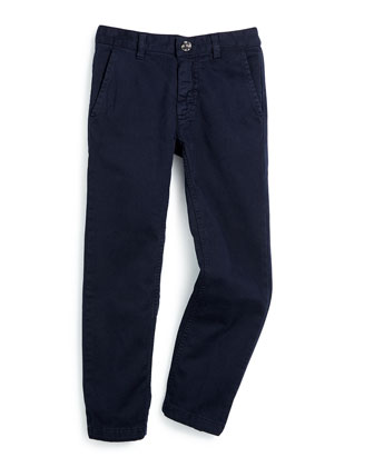 Stretch-Twill Pants, Navy, Size 5-8