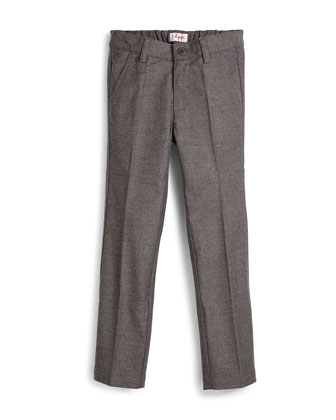 Woven Slim-Fit Gabardine Pants, Gray, Size 5-8
