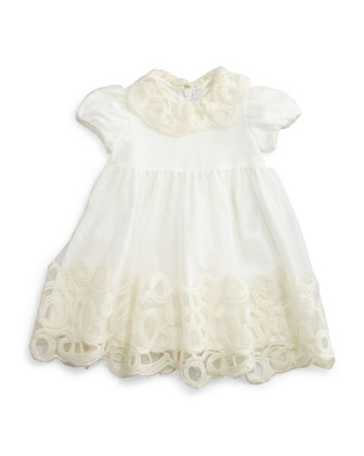 Cap-Sleeve Embroidered Tulle Dress, White, Size 2-4