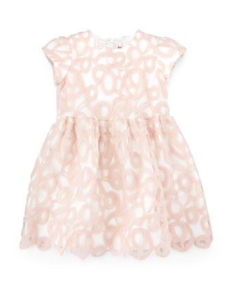 Short-Sleeve A-Line Overlay Dress, Pink, Size 5-8