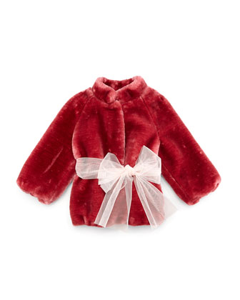 Belted Faux-Fur Coat, Red, Size 5-8