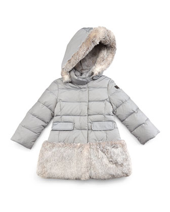 Faux-Fur-Trim Hooded Down Coat, Gray, Size 5-8