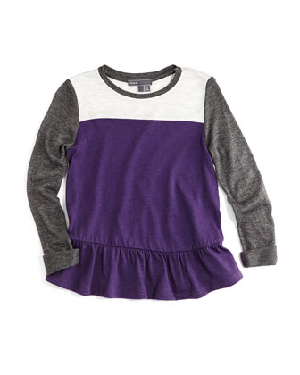 Long-Sleeve Colorblock Tunic, Purple, Size 2-6