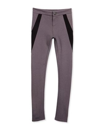 Ponte Button/Zip Colorblock Leggings, Ceramic, Size 7-14