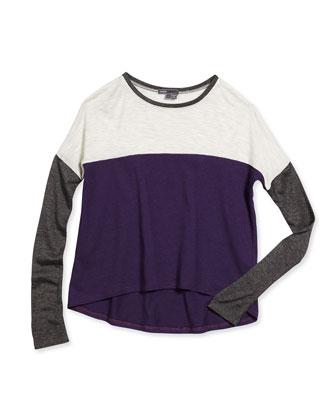 Favorite Long-Sleeve Colorblock Tee, Purple/Gray, Size S-XL