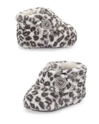 Bixbee Cotton Leopard-Print Bootie, White/Black, Infant
