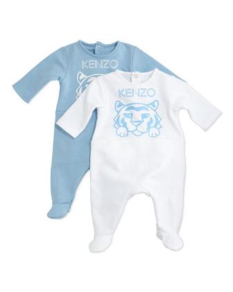 Cotton Footie Pajama Set, Light Blue/White, Size Newborn-9 Months