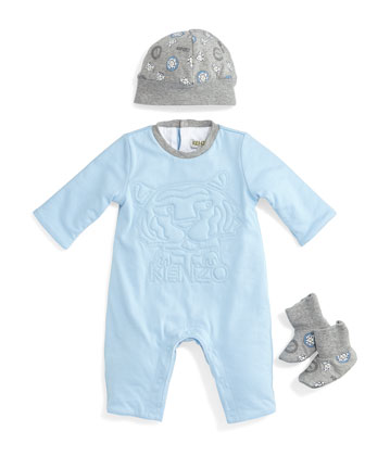 3D-Stitched Coverall, Printed Baby Hat & Knit Socks, Light Blue/Gray, Size ...